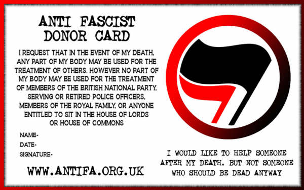 Antifa Donor Card